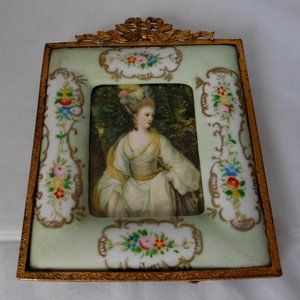 Antique French Style Brass Porcelain Photo Frame